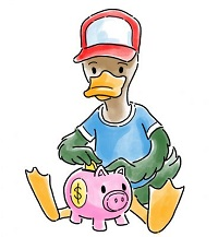 Duckling putting money in a piggy bank